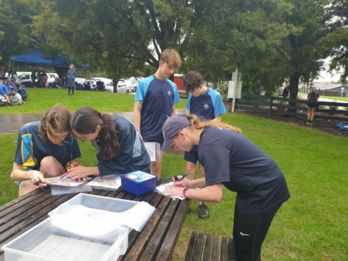 Sancta Maria College students plot their routes before they move out.